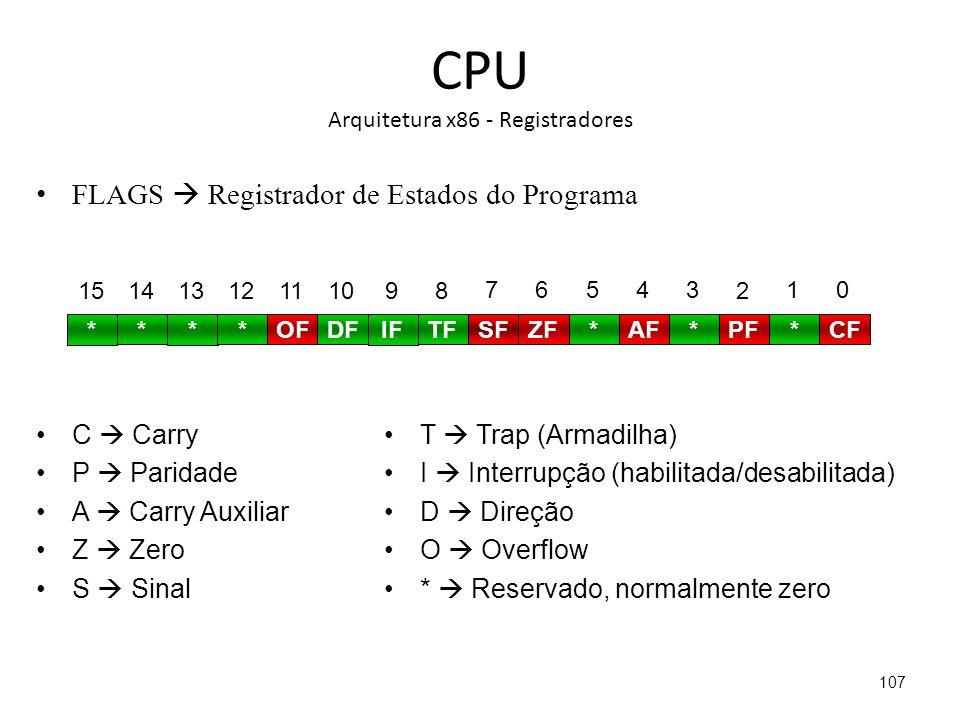 CPU Arquitetura x86 - Registradores FLAGS Registrador de Estados do Programa 107 * 15 * 14 * 13 * 12 OF 11 DF 10 IF 9 TF 8 SF 7 ZF 6 * 5 AF 4 * 3 PF 2 * 1 CF 0 C Carry P Paridade A Carry Auxiliar Z Zero S Sinal T Trap (Armadilha) I Interrupção (habilitada/desabilitada) D Direção O Overflow * Reservado, normalmente zero