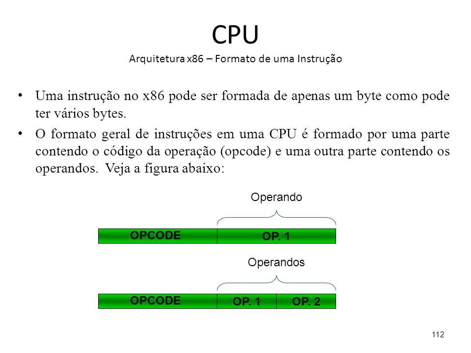 CPU Arquitetura x86 – Formato de uma Instrução Uma instrução no x86 pode ser formada de apenas um byte como pode ter vários bytes.