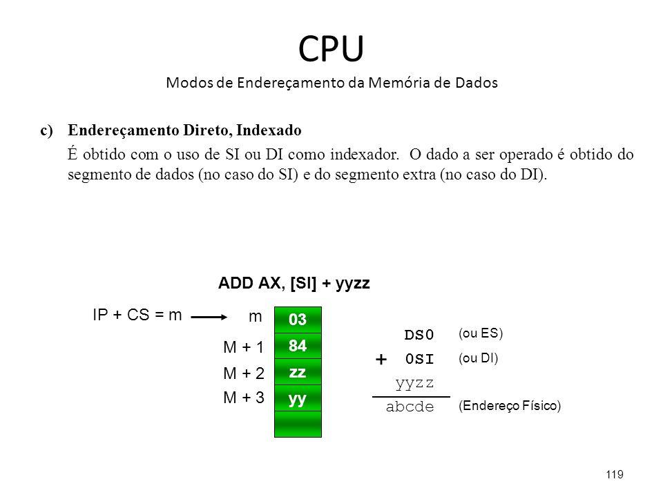 CPU Modos de Endereçamento da Memória de Dados c)Endereçamento Direto, Indexado É obtido com o uso de SI ou DI como indexador.