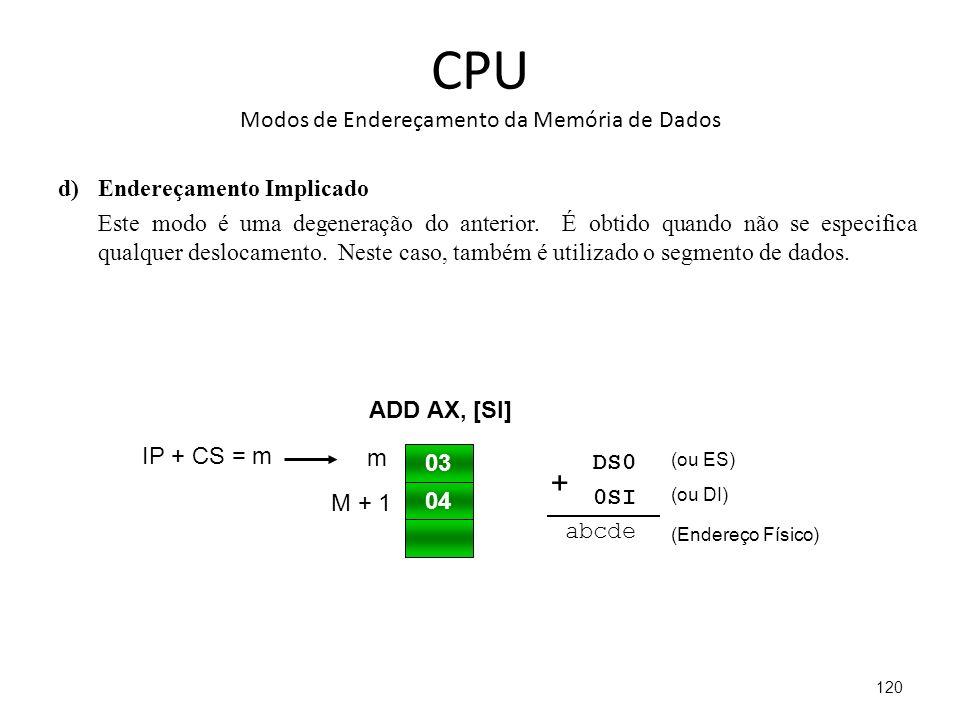 CPU Modos de Endereçamento da Memória de Dados d)Endereçamento Implicado Este modo é uma degeneração do anterior.
