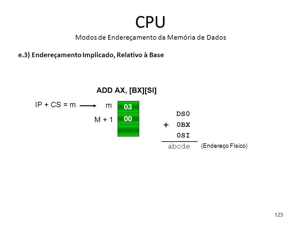 CPU Modos de Endereçamento da Memória de Dados e.3) Endereçamento Implicado, Relativo à Base 123 03 00 IP + CS = m m M + 1 ADD AX, [BX][SI] DS0 0BX 0SI abcde (Endereço Físico) +