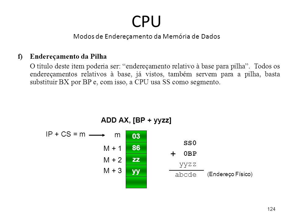 CPU Modos de Endereçamento da Memória de Dados f)Endereçamento da Pilha O título deste item poderia ser: endereçamento relativo à base para pilha.