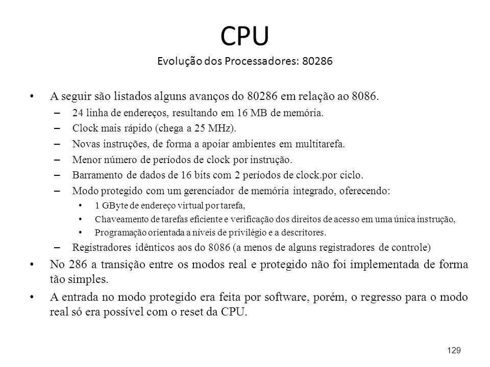CPU Evolução dos Processadores: 80286 A seguir são listados alguns avanços do 80286 em relação ao 8086.