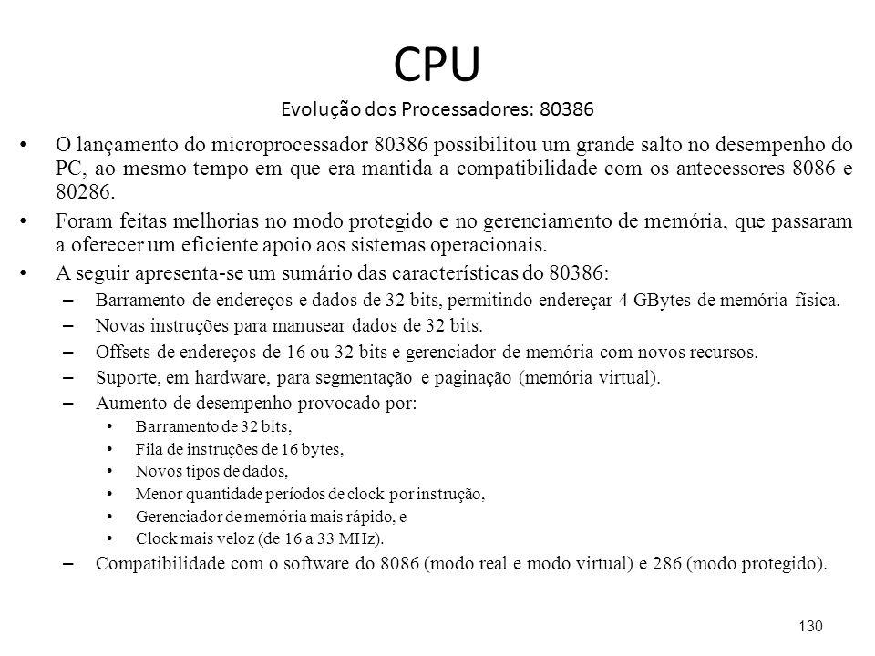 CPU Evolução dos Processadores: 80386 O lançamento do microprocessador 80386 possibilitou um grande salto no desempenho do PC, ao mesmo tempo em que era mantida a compatibilidade com os antecessores 8086 e 80286.