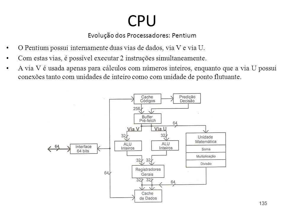 CPU Evolução dos Processadores: Pentium O Pentium possui internamente duas vias de dados, via V e via U.