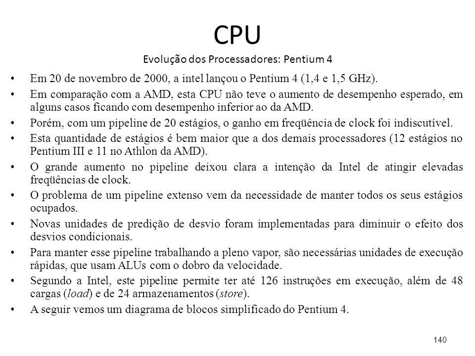 CPU Evolução dos Processadores: Pentium 4 Em 20 de novembro de 2000, a intel lançou o Pentium 4 (1,4 e 1,5 GHz).
