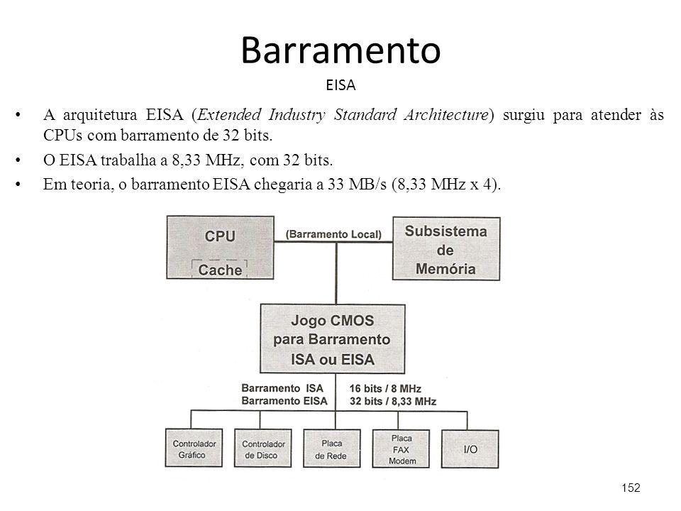 Barramento EISA A arquitetura EISA (Extended Industry Standard Architecture) surgiu para atender às CPUs com barramento de 32 bits.