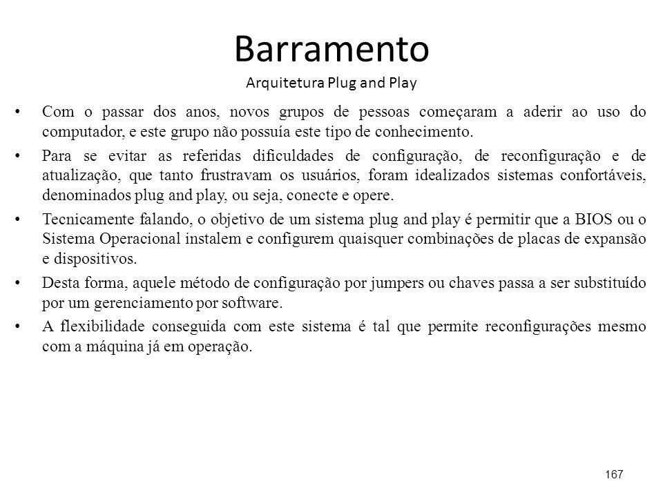 Barramento Arquitetura Plug and Play Com o passar dos anos, novos grupos de pessoas começaram a aderir ao uso do computador, e este grupo não possuía este tipo de conhecimento.