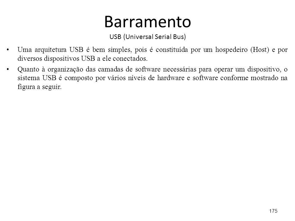 Barramento USB (Universal Serial Bus) Uma arquitetura USB é bem simples, pois é constituída por um hospedeiro (Host) e por diversos dispositivos USB a ele conectados.
