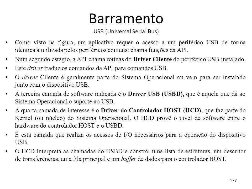 Barramento USB (Universal Serial Bus) Como visto na figura, um aplicativo requer o acesso a um periférico USB de forma idêntica à utilizada pelos periféricos comuns: chama funções da API.