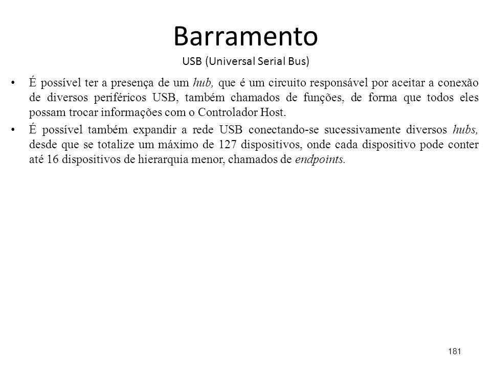 Barramento USB (Universal Serial Bus) É possível ter a presença de um hub, que é um circuito responsável por aceitar a conexão de diversos periféricos USB, também chamados de funções, de forma que todos eles possam trocar informações com o Controlador Host.