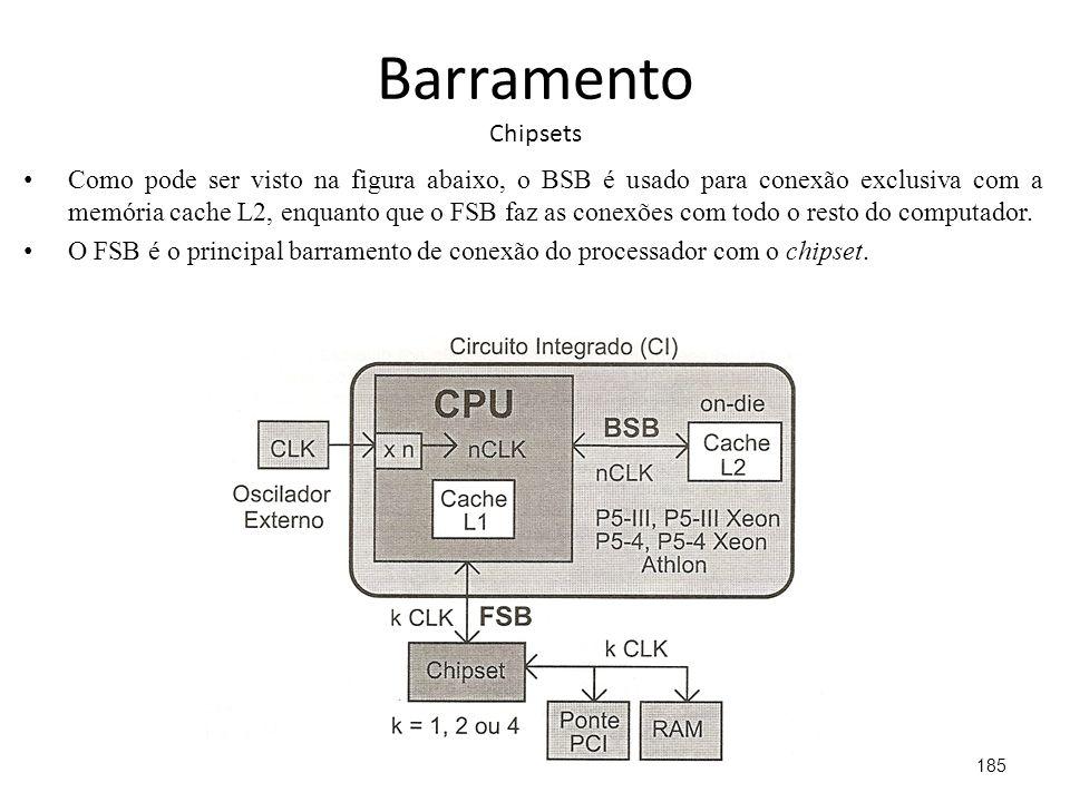 Barramento Chipsets Como pode ser visto na figura abaixo, o BSB é usado para conexão exclusiva com a memória cache L2, enquanto que o FSB faz as conexões com todo o resto do computador.