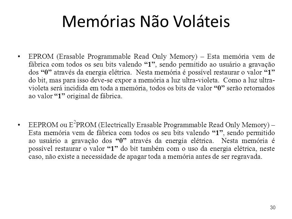 Memórias Não Voláteis EPROM (Erasable Programmable Read Only Memory) – Esta memória vem de fábrica com todos os seu bits valendo 1, sendo permitido ao usuário a gravação dos 0 através da energia elétrica.