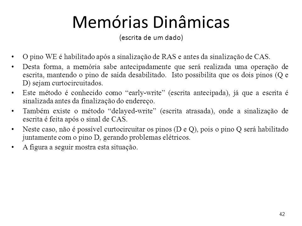 Memórias Dinâmicas (escrita de um dado) O pino WE é habilitado após a sinalização de RAS e antes da sinalização de CAS.