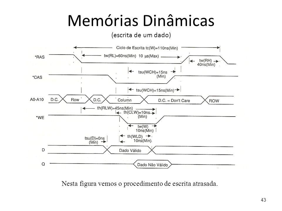 Memórias Dinâmicas (escrita de um dado) Nesta figura vemos o procedimento de escrita atrasada. 43