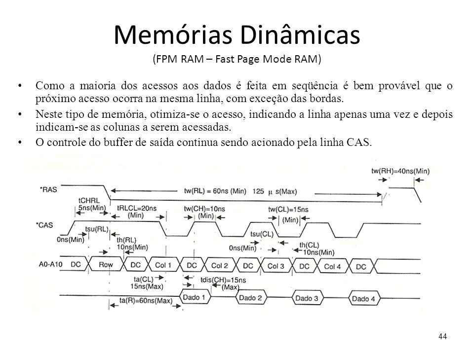 Memórias Dinâmicas (FPM RAM – Fast Page Mode RAM) Como a maioria dos acessos aos dados é feita em seqüência é bem provável que o próximo acesso ocorra na mesma linha, com exceção das bordas.
