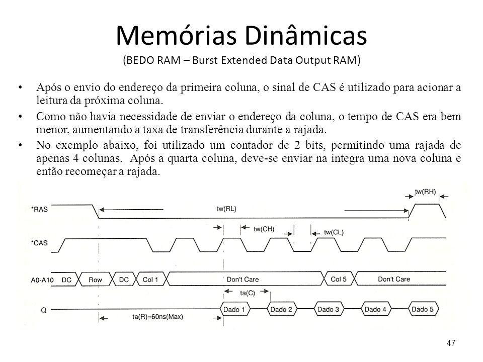 Memórias Dinâmicas (BEDO RAM – Burst Extended Data Output RAM) Após o envio do endereço da primeira coluna, o sinal de CAS é utilizado para acionar a leitura da próxima coluna.