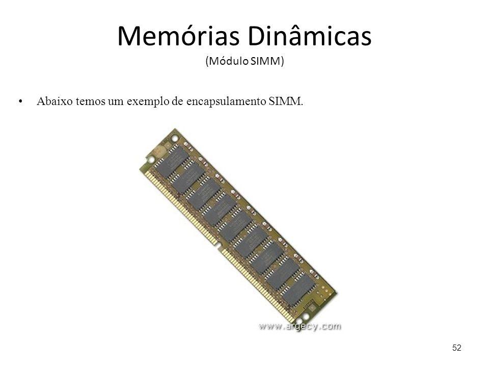 Memórias Dinâmicas (Módulo SIMM) Abaixo temos um exemplo de encapsulamento SIMM. 52