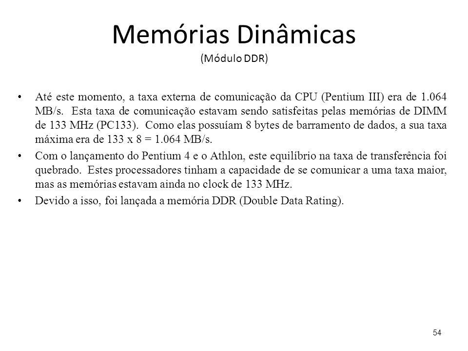 Memórias Dinâmicas (Módulo DDR) Até este momento, a taxa externa de comunicação da CPU (Pentium III) era de 1.064 MB/s.