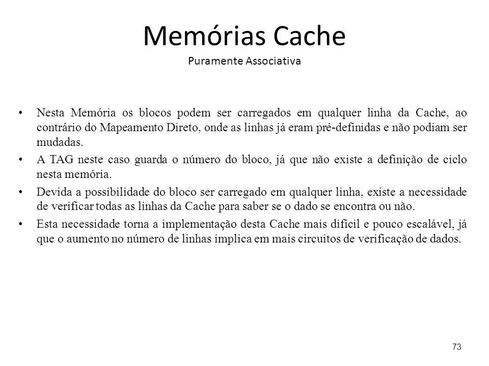 Memórias Cache Puramente Associativa Nesta Memória os blocos podem ser carregados em qualquer linha da Cache, ao contrário do Mapeamento Direto, onde as linhas já eram pré-definidas e não podiam ser mudadas.