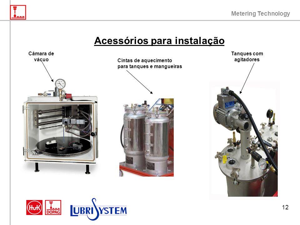 Metering Technology 12 Acessórios para instalação Tanques com agitadores Câmara de vácuo Cintas de aquecimento para tanques e mangueiras