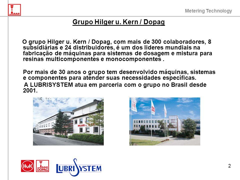 Metering Technology 2 Grupo Hilger u. Kern / Dopag O grupo Hilger u. Kern / Dopag, com mais de 300 colaboradores, 8 subsidiárias e 24 distribuidores,