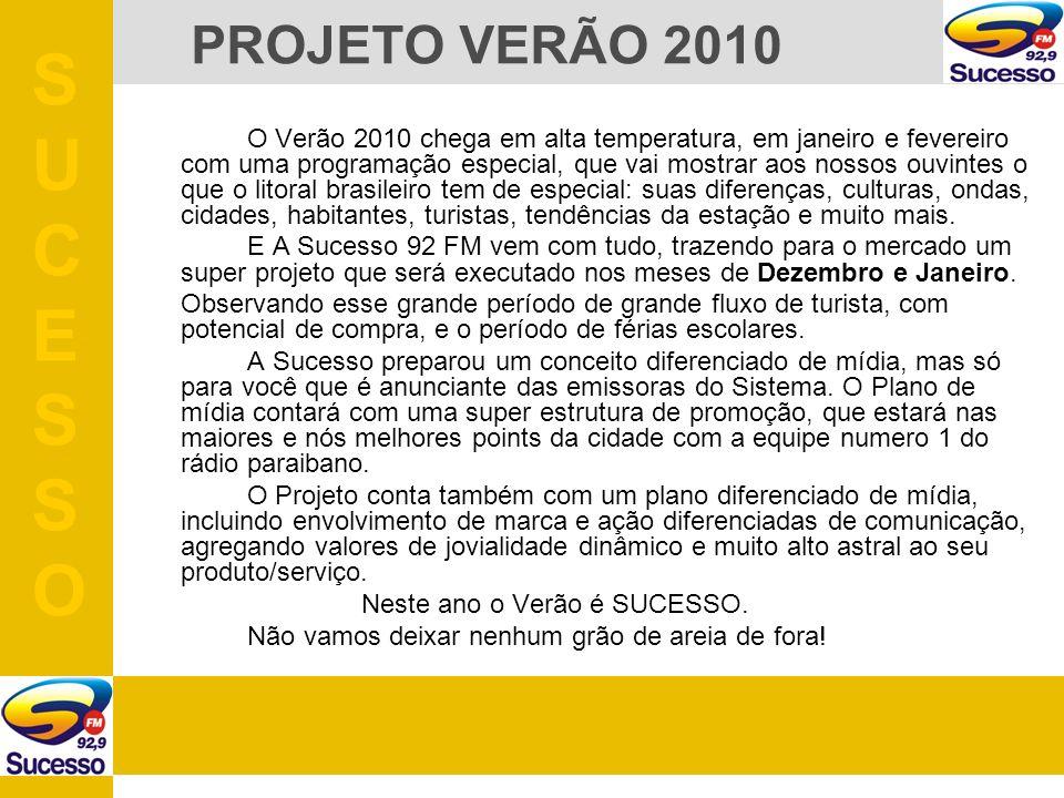 O Verão 2010 chega em alta temperatura, em janeiro e fevereiro com uma programação especial, que vai mostrar aos nossos ouvintes o que o litoral brasileiro tem de especial: suas diferenças, culturas, ondas, cidades, habitantes, turistas, tendências da estação e muito mais.