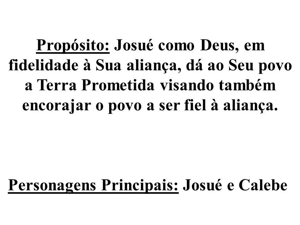 Propósito: Josué como Deus, em fidelidade à Sua aliança, dá ao Seu povo a Terra Prometida visando também encorajar o povo a ser fiel à aliança. Person