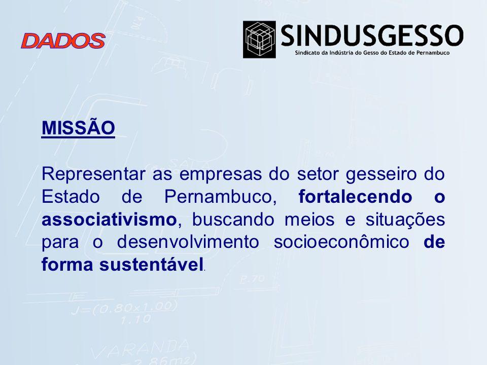 MISSÃO Representar as empresas do setor gesseiro do Estado de Pernambuco, fortalecendo o associativismo, buscando meios e situações para o desenvolvim