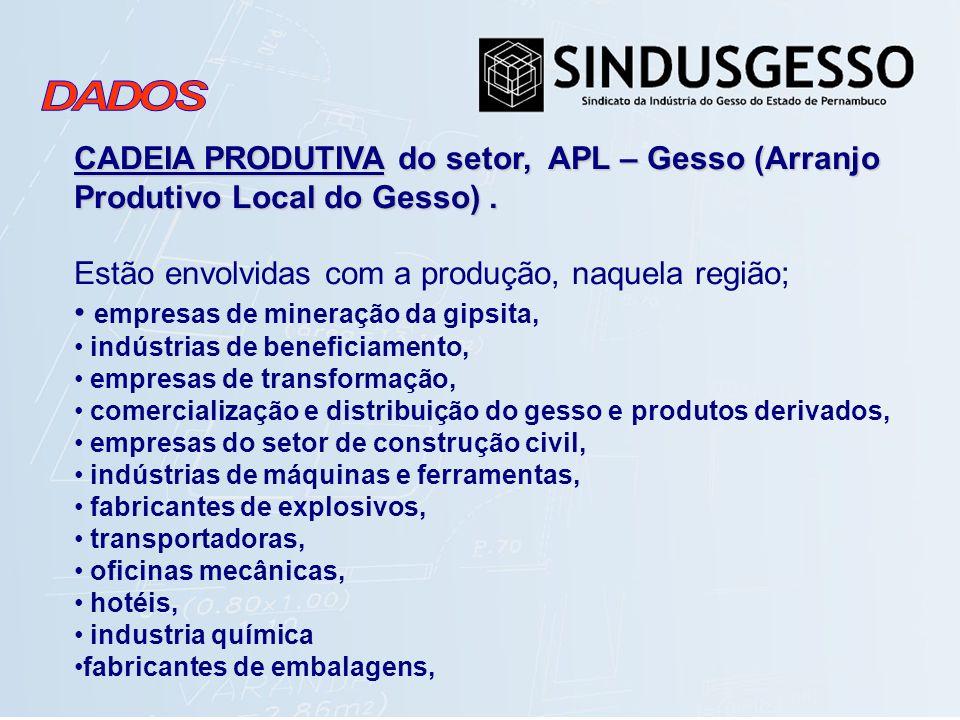 CADEIA PRODUTIVA do setor, APL – Gesso (Arranjo Produtivo Local do Gesso). Estão envolvidas com a produção, naquela região; empresas de mineração da g