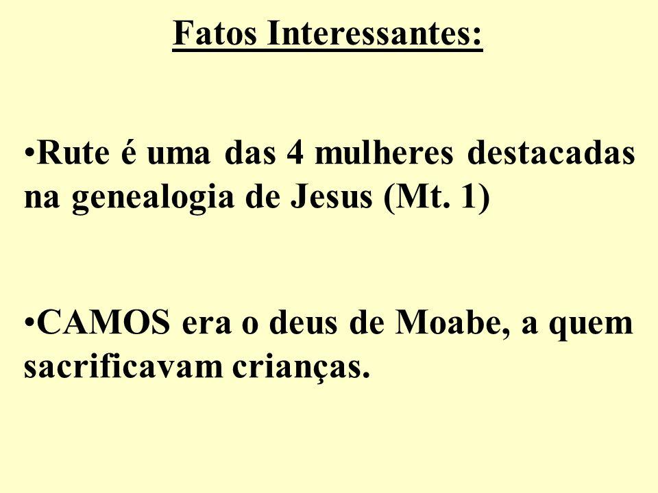 Fatos Interessantes: Rute é uma das 4 mulheres destacadas na genealogia de Jesus (Mt. 1) CAMOS era o deus de Moabe, a quem sacrificavam crianças.