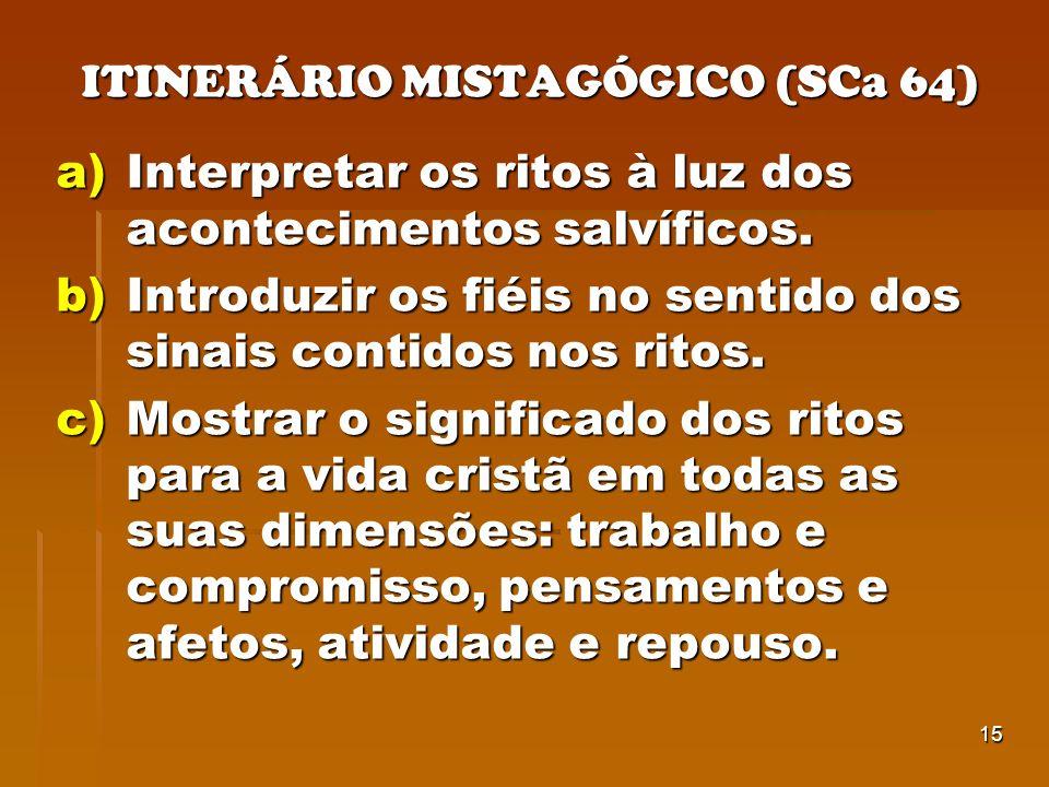 15 ITINERÁRIO MISTAGÓGICO (SCa 64) a)Interpretar os ritos à luz dos acontecimentos salvíficos. b)Introduzir os fiéis no sentido dos sinais contidos no