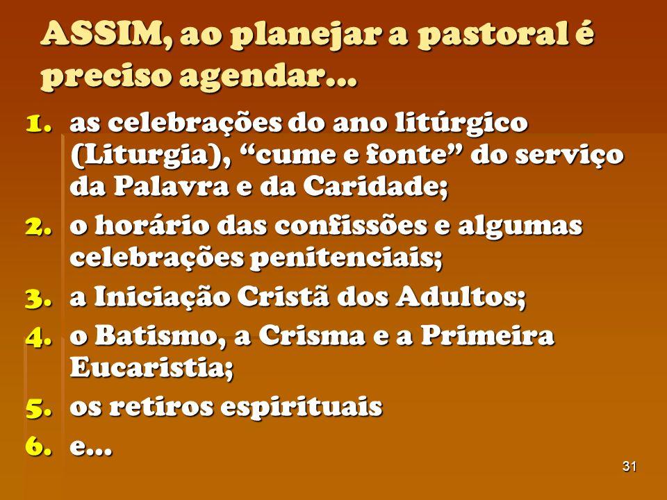 31 ASSIM, ao planejar a pastoral é preciso agendar... 1.as celebrações do ano litúrgico (Liturgia), cume e fonte do serviço da Palavra e da Caridade;