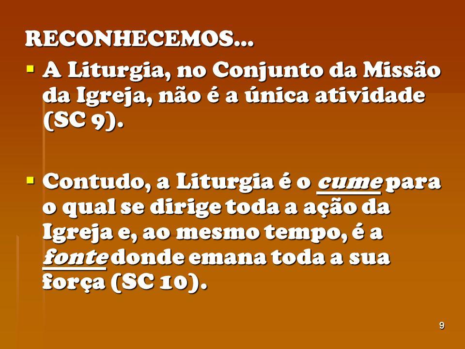 9 RECONHECEMOS... A Liturgia, no Conjunto da Missão da Igreja, não é a única atividade (SC 9). A Liturgia, no Conjunto da Missão da Igreja, não é a ún