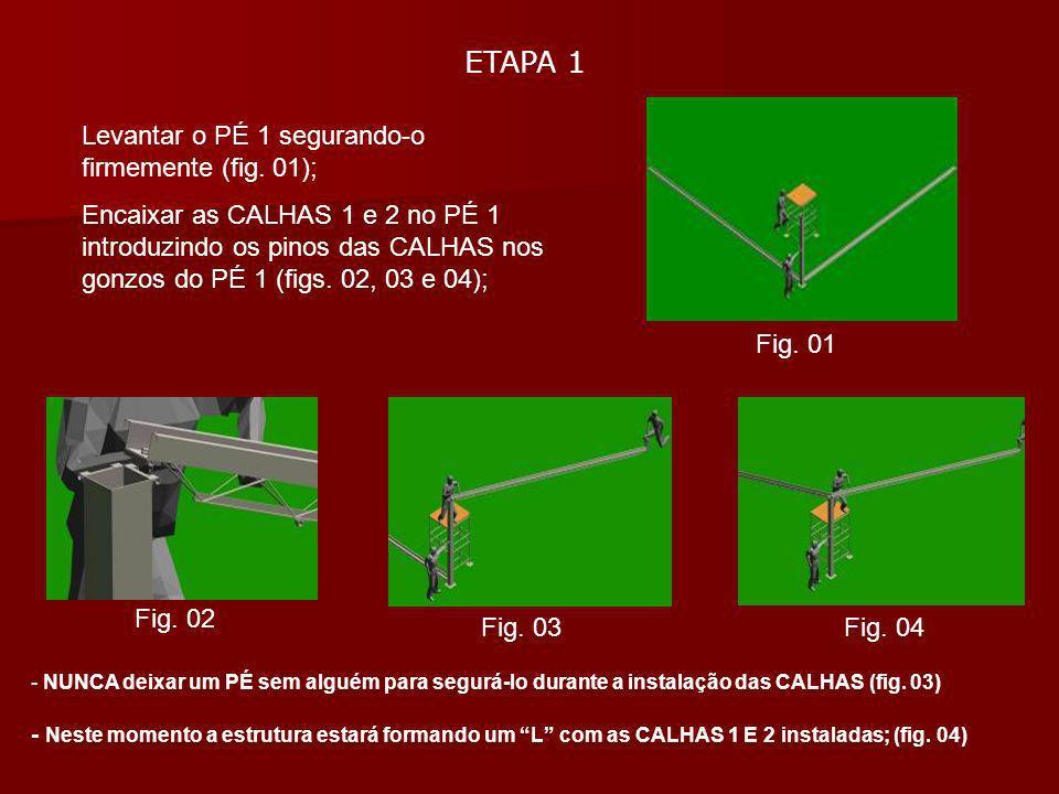 ETAPA 1 Levantar o PÉ 1 segurando-o firmemente (fig. 01); Encaixar as CALHAS 1 e 2 no PÉ 1 introduzindo os pinos das CALHAS nos gonzos do PÉ 1 (figs.
