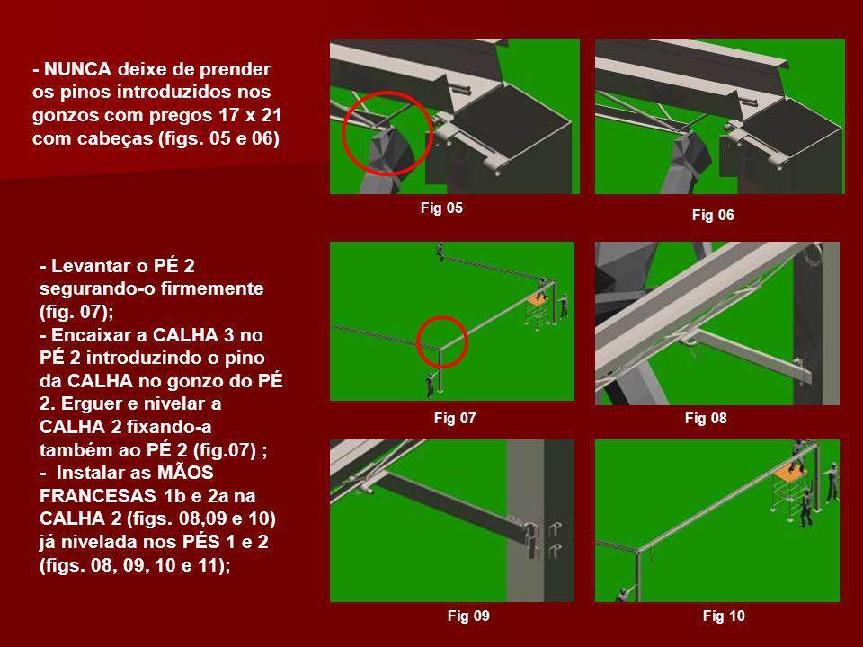 Fig 11 -Neste momento a estrutura estará formando um U com as CALHAS 1, 2 e 3 instaladas; (fig.