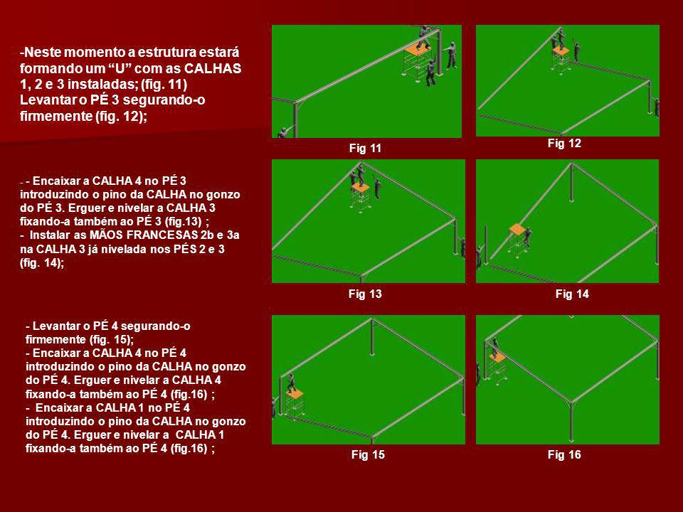 -Instalar as MÃOS FRANCESAS 3b e 4a e também as MÃOS FRANCESAS 4b e 1a nas CALHAS 4 e 1 já niveladas nos PÉS 3 e 4 e PÉS 4 e 1 (fig.