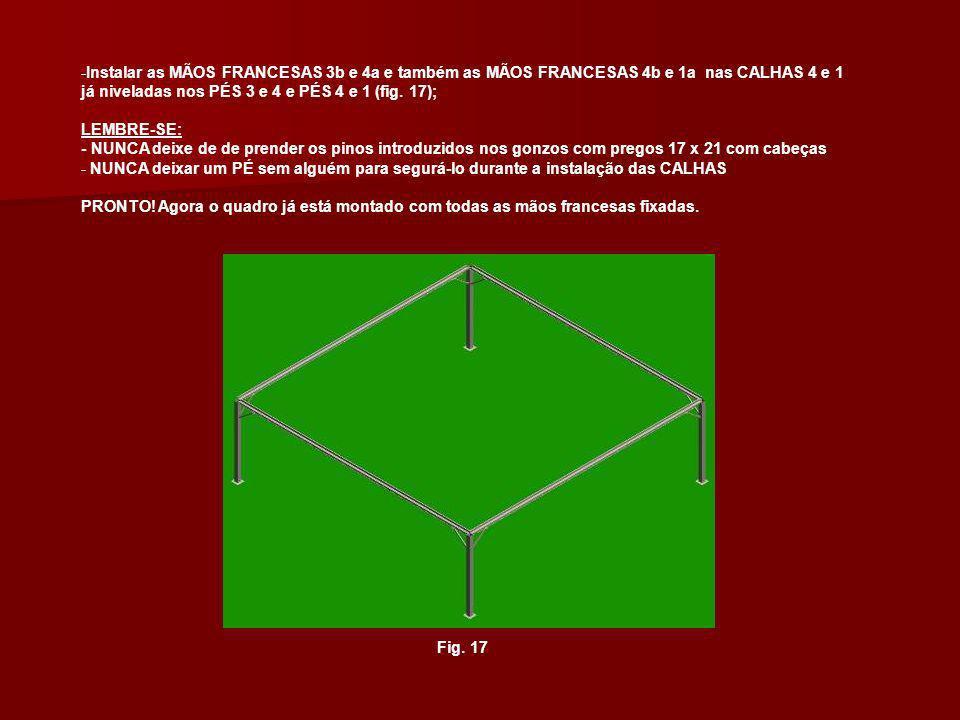 -Instalar as MÃOS FRANCESAS 3b e 4a e também as MÃOS FRANCESAS 4b e 1a nas CALHAS 4 e 1 já niveladas nos PÉS 3 e 4 e PÉS 4 e 1 (fig. 17); LEMBRE-SE: -