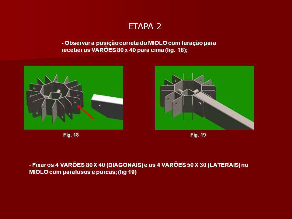 ETAPA 2 - Observar a posição correta do MIOLO com furação para receber os VARÕES 80 x 40 para cima (fig. 18); - Fixar os 4 VARÕES 80 X 40 (DIAGONAIS)