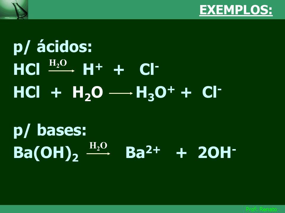 Prof: Renato EXEMPLOS: p/ ácidos: HCl H + + Cl - HCl + H 2 O H 3 O + + Cl - p/ bases: Ba(OH) 2 Ba 2+ + 2OH - H2OH2O H2OH2O