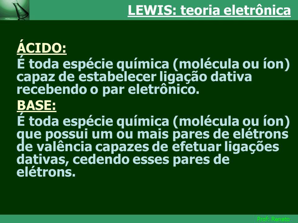 Prof: Renato LEWIS: teoria eletrônica ÁCIDO: É toda espécie química (molécula ou íon) capaz de estabelecer ligação dativa recebendo o par eletrônico.
