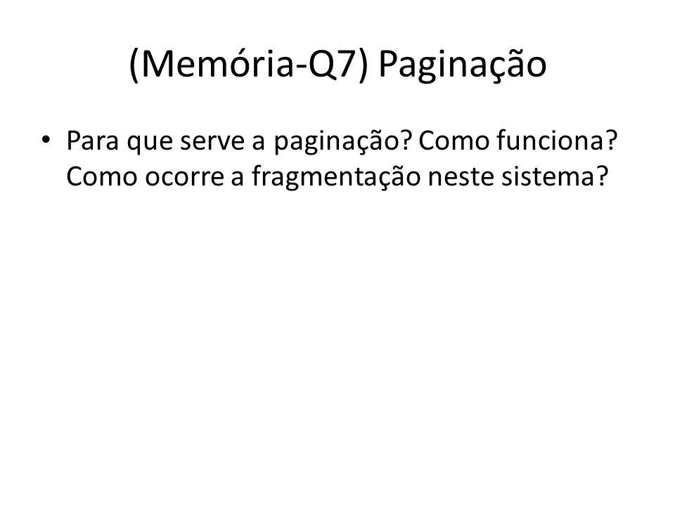 (Memória-Q7) Paginação Para que serve a paginação? Como funciona? Como ocorre a fragmentação neste sistema?
