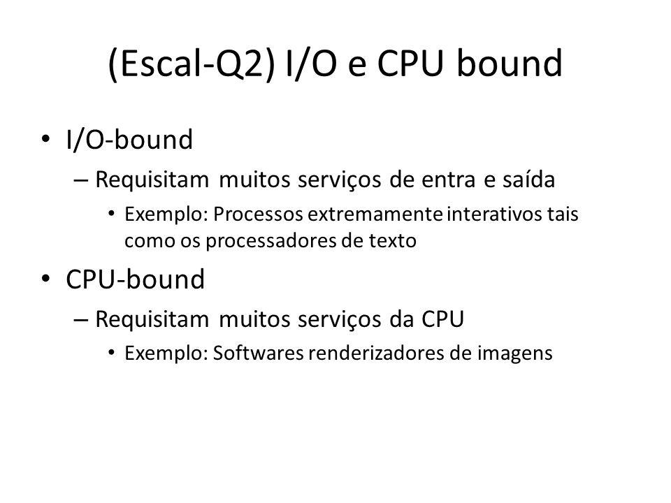 (Escal-Q3) Batch X Interativos Processos Batch – Execução de uma série de programas (jobs) sem a interação humana – Exemplo: Mainframes e Impressão de documentos Processos Interativos – Processos que passam boa parte do tempo no estado bloqueado (aguardando inputs dos usuários) – Inerentemente I/O bounded
