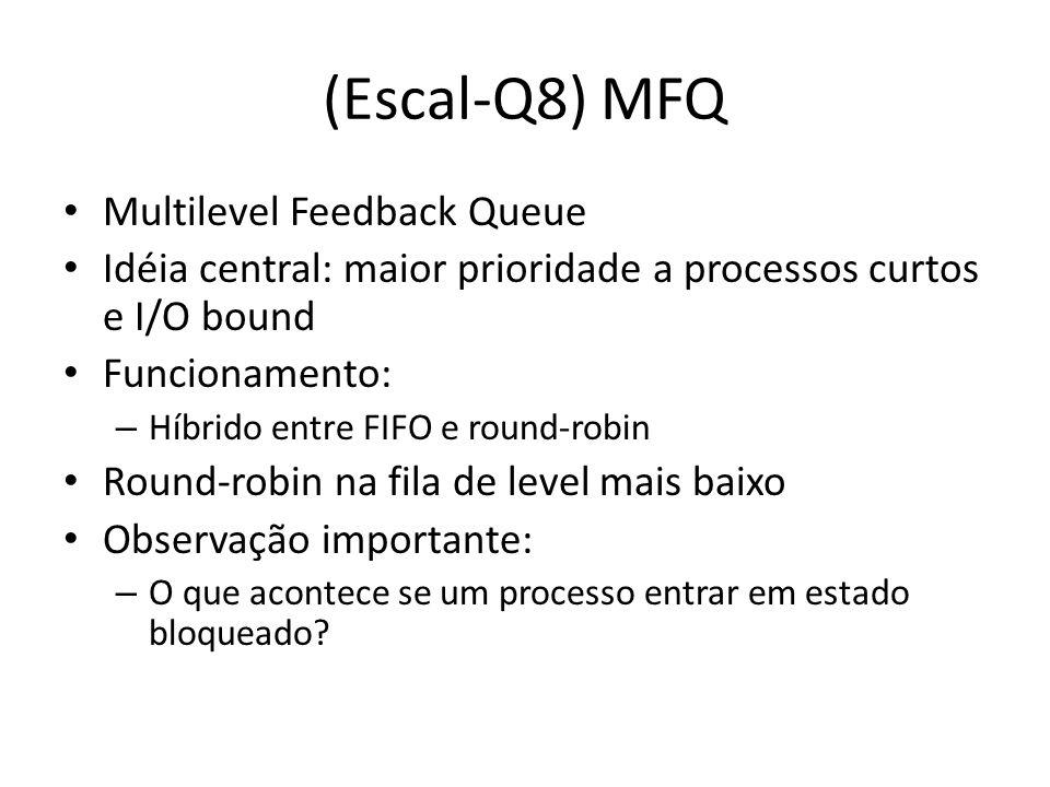 (Escal-Q8) MFQ Multilevel Feedback Queue Idéia central: maior prioridade a processos curtos e I/O bound Funcionamento: – Híbrido entre FIFO e round-ro
