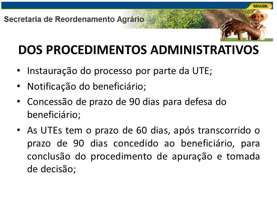 DOS PROCEDIMENTOS ADMINISTRATIVOS Instauração do processo por parte da UTE; Notificação do beneficiário; Concessão de prazo de 90 dias para defesa do