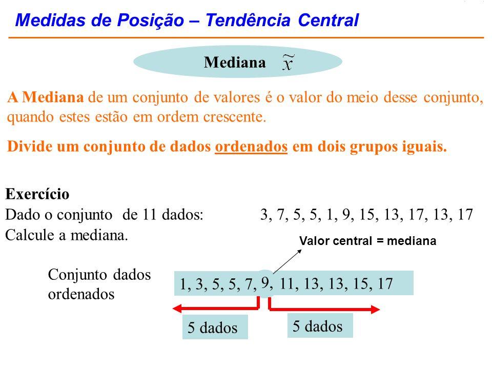 A Mediana de um conjunto de valores é o valor do meio desse conjunto, quando estes estão em ordem crescente. Divide um conjunto de dados ordenados em