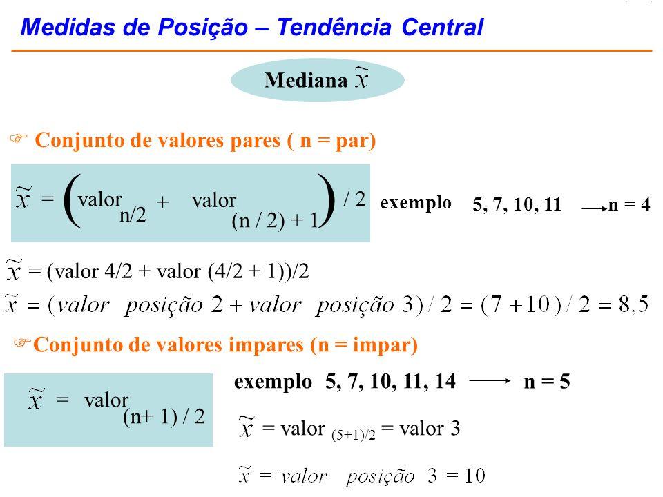 Mediana Conjunto de valores pares ( n = par) + =valor n/2 (n / 2) + 1 valor )( / 2 Conjunto de valores impares (n = impar) =valor (n+ 1) / 2 5, 7, 10,