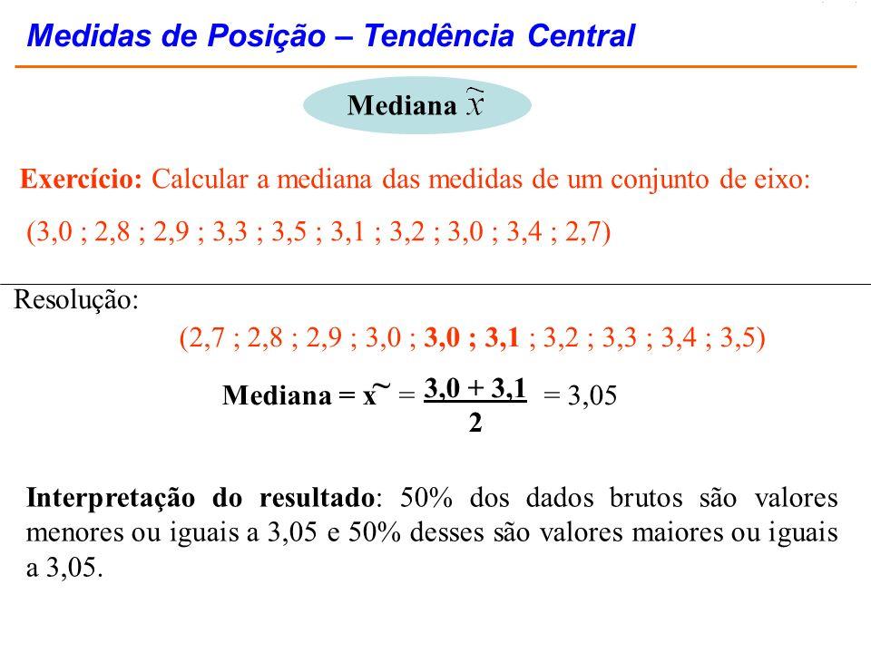 Exercício: Calcular a mediana das medidas de um conjunto de eixo: (3,0 ; 2,8 ; 2,9 ; 3,3 ; 3,5 ; 3,1 ; 3,2 ; 3,0 ; 3,4 ; 2,7) (2,7 ; 2,8 ; 2,9 ; 3,0 ;