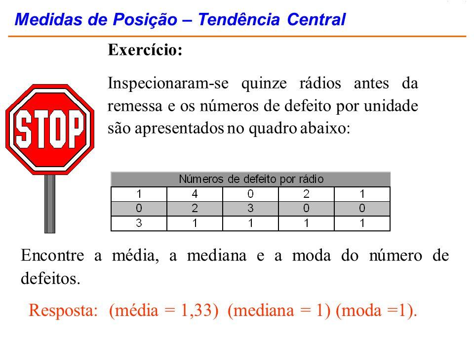 Exercício: Inspecionaram-se quinze rádios antes da remessa e os números de defeito por unidade são apresentados no quadro abaixo: Encontre a média, a