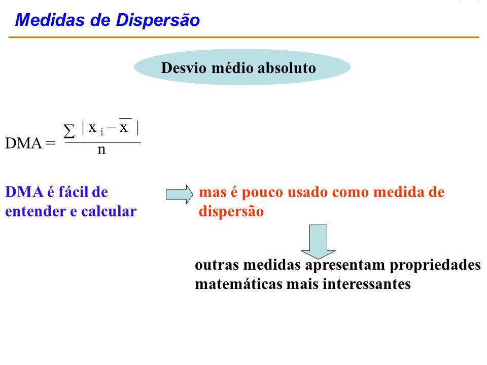 Desvio médio absoluto DMA = | x i – x | n DMA é fácil de entender e calcular mas é pouco usado como medida de dispersão outras medidas apresentam prop